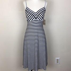 NWT Navy White Striped Midi Dress